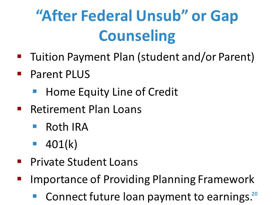 After Federal Unsub or Gap Counseling  Tuition Payment Plan (student and/or Parent)  Parent PLUS  Home Equity Line of Credit  Retirement Plan Loans  Roth IRA  401(k)  Private Student Loans  Importance of Providing Planning Framework  Connect future loan payment to earnings.