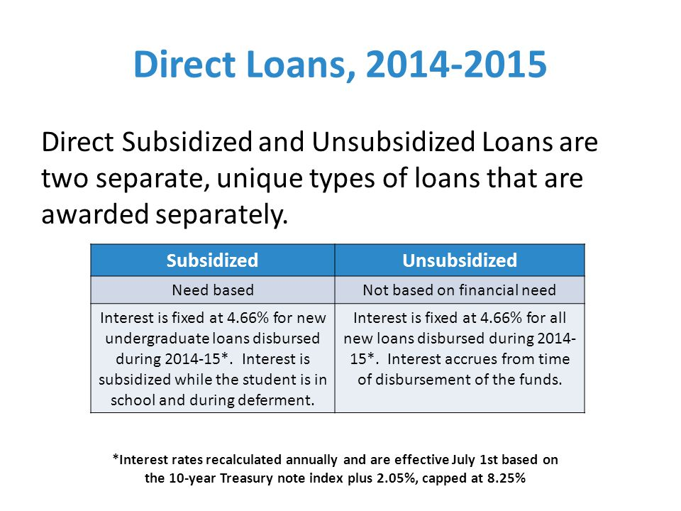 Direct Loans, 2014-2015 Direct Subsidized and Unsubsidized Loans are two separate, unique types of loans that are awarded separately.