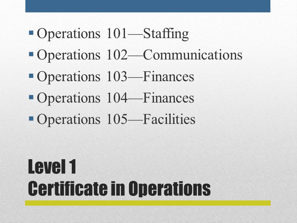Level 1 Certificate in Operations  Operations 101—Staffing  Operations 102—Communications  Operations 103—Finances  Operations 104—Finances  Operations 105—Facilities