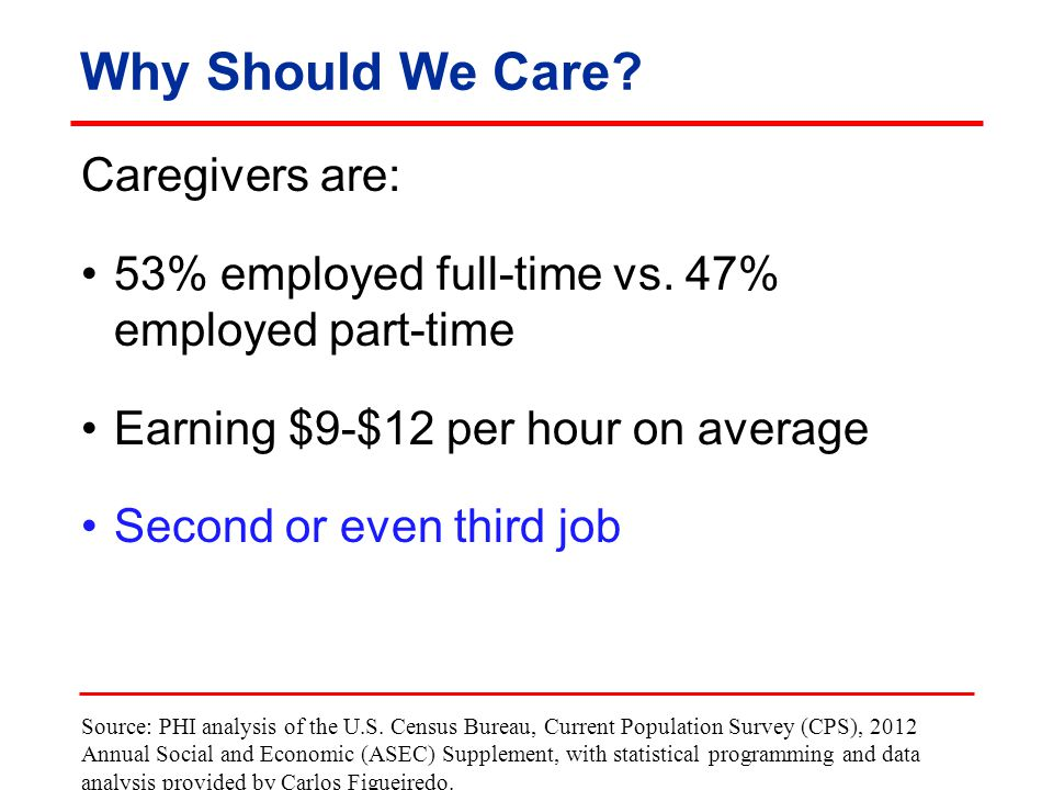 Why Should We Care. Caregivers are: 53% employed full-time vs.
