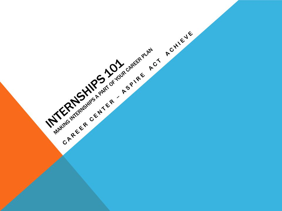 INTERNSHIPS 101 MAKING INTERNSHIPS A PART OF YOUR CAREER PLAN CAREER CENTER – ASPIRE ACT ACHIEVE