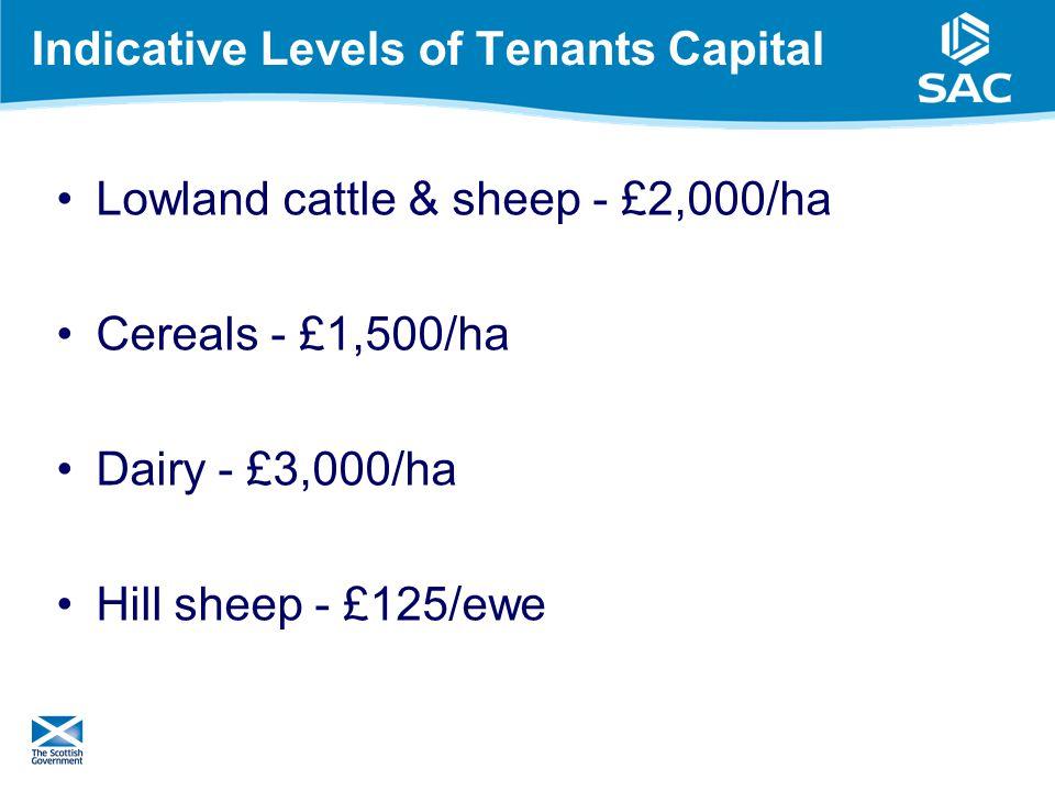 Indicative Levels of Tenants Capital Lowland cattle & sheep - £2,000/ha Cereals - £1,500/ha Dairy - £3,000/ha Hill sheep - £125/ewe 16