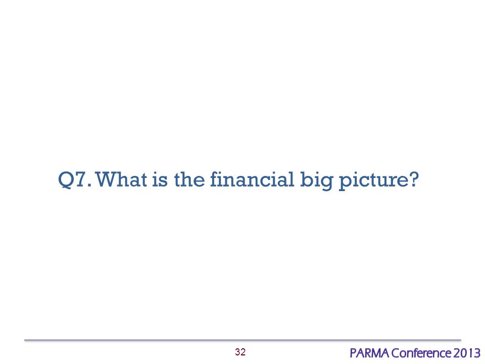 32 Q7. What is the financial big picture?