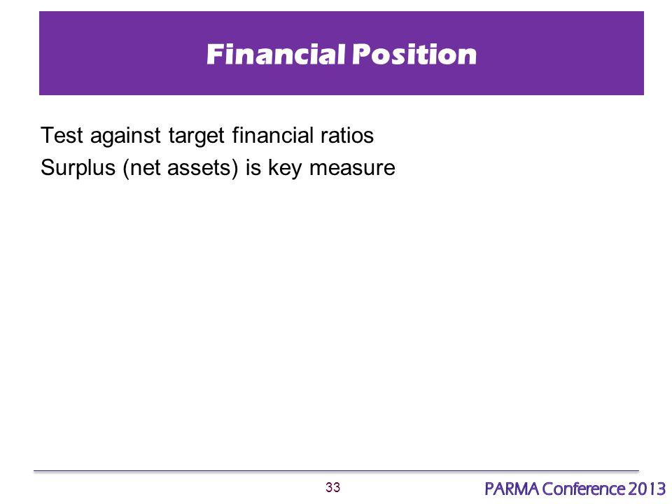 33 Financial Position Test against target financial ratios Surplus (net assets) is key measure