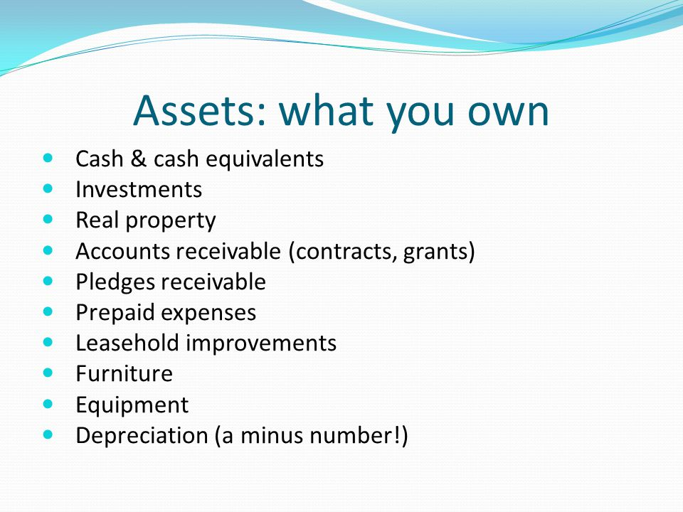 Assets: what you own Cash & cash equivalents Investments Real property Accounts receivable (contracts, grants) Pledges receivable Prepaid expenses Leasehold improvements Furniture Equipment Depreciation (a minus number!)
