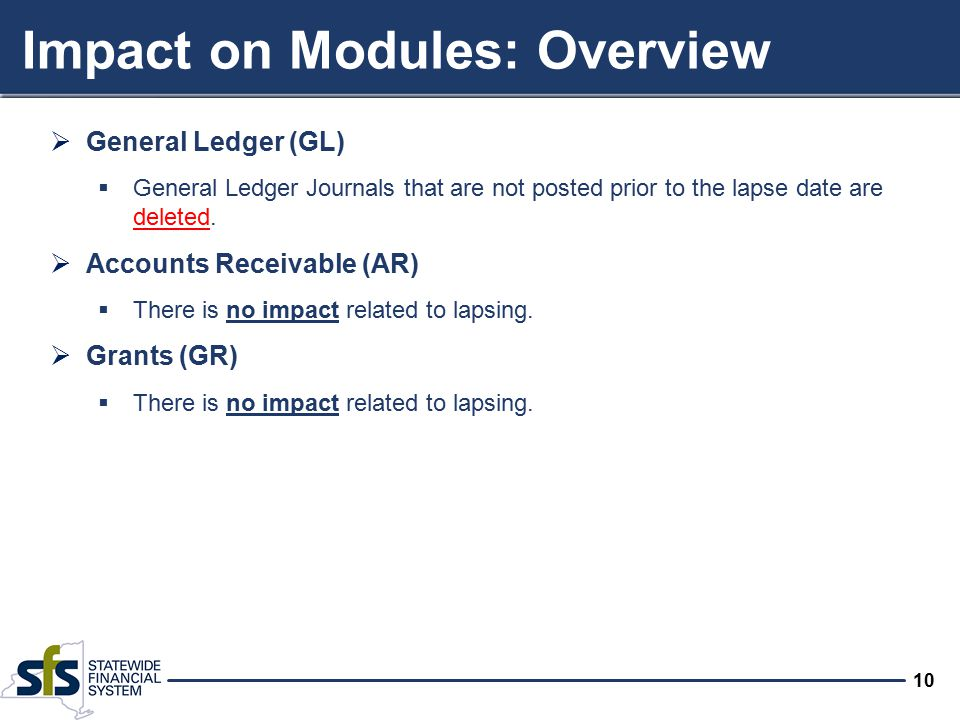 10 Impact on Modules: Overview  General Ledger (GL)  General Ledger Journals that are not posted prior to the lapse date are deleted.