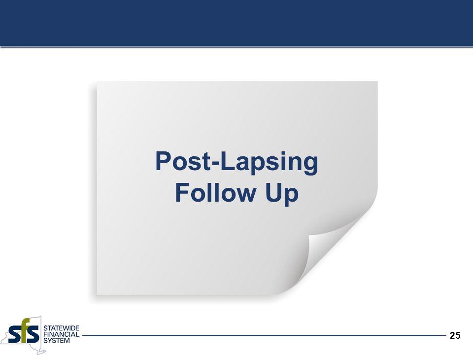 25 Post-Lapsing Follow Up