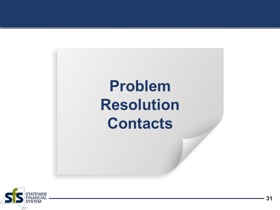 31 Problem Resolution Contacts
