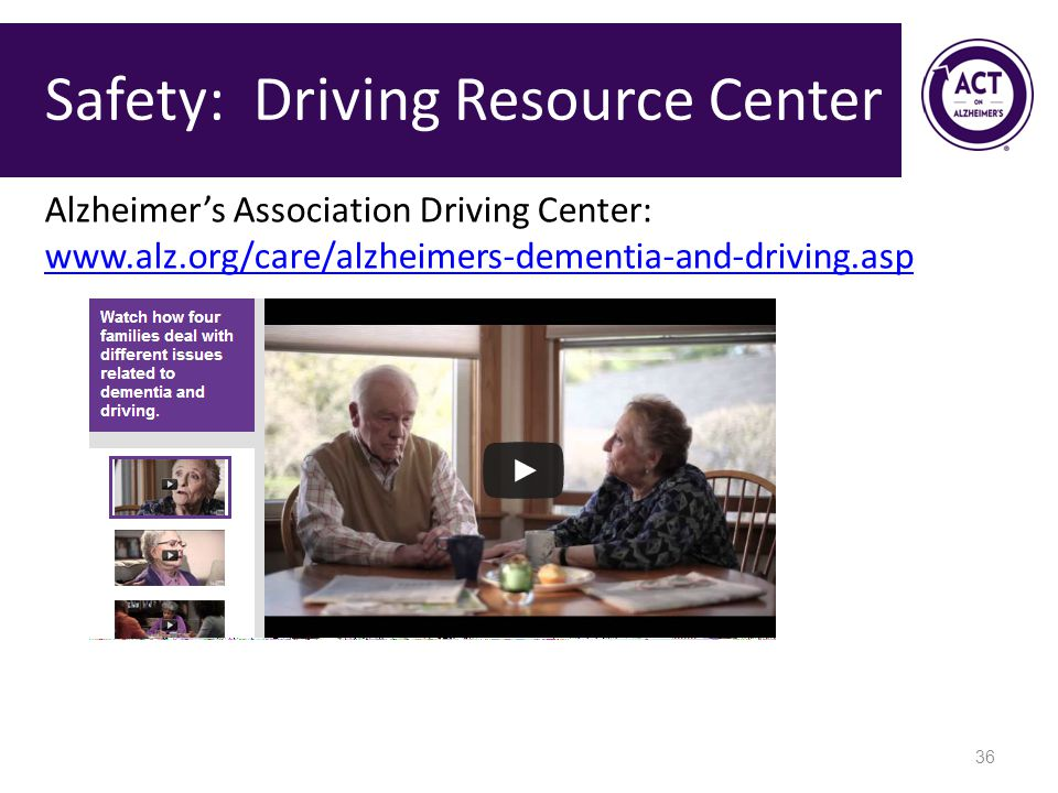 Safety: Driving Resource Center 36 Alzheimer's Association Driving Center: www.alz.org/care/alzheimers-dementia-and-driving.asp