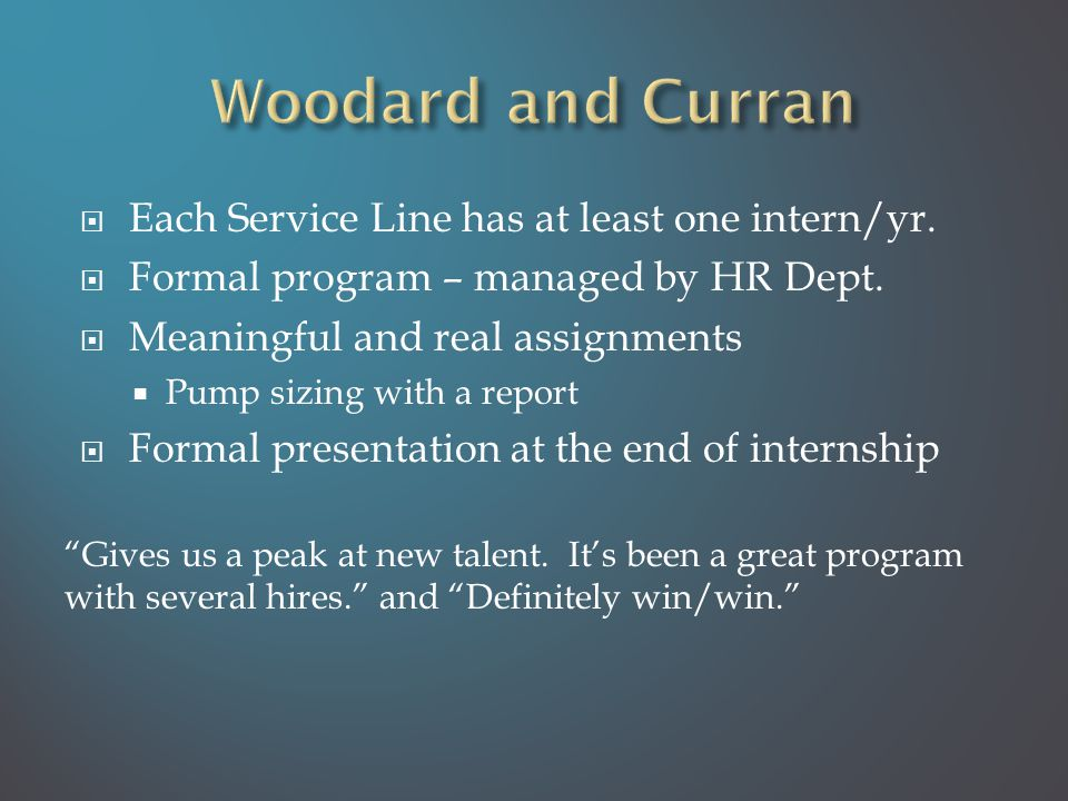  Each Service Line has at least one intern/yr. Formal program – managed by HR Dept.