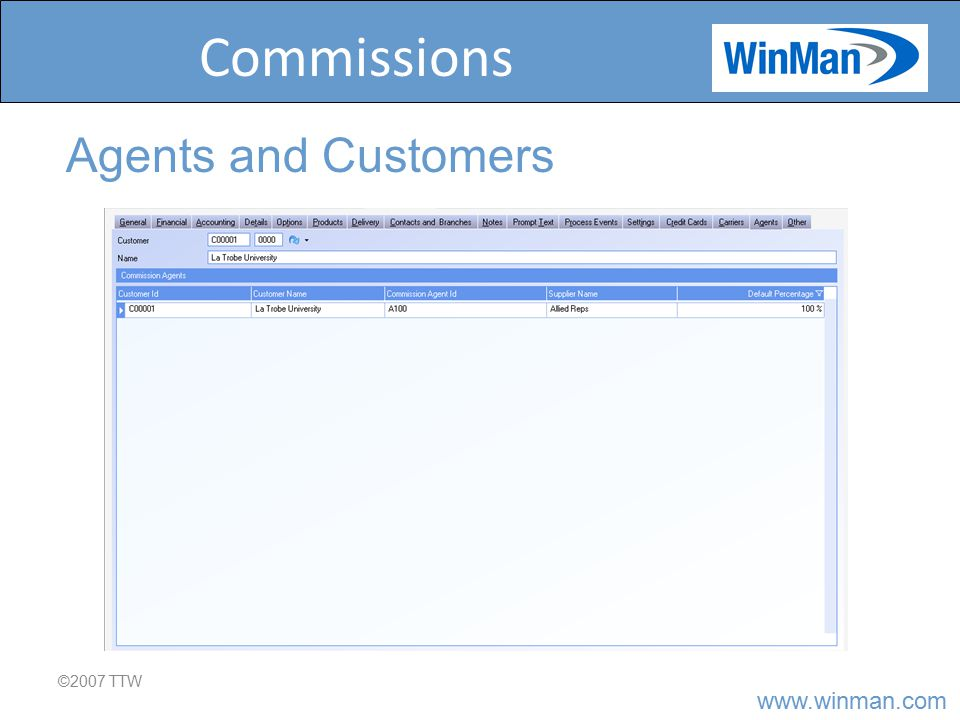 www.winman.com Commissions ©2007 TTW Agents and Customers