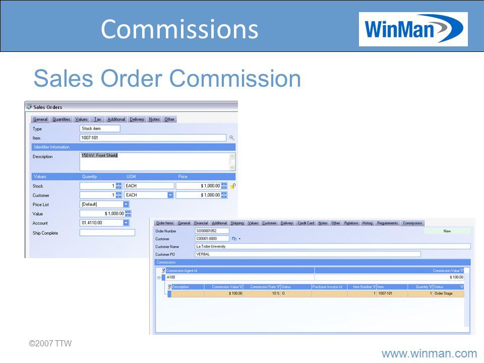 www.winman.com Commissions ©2007 TTW Sales Order Commission