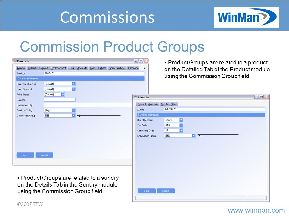 www.winman.com Commissions ©2007 TTW Commission Product Groups Product Groups are related to a product on the Detailed Tab of the Product module using the Commission Group field Product Groups are related to a sundry on the Details Tab in the Sundry module using the Commission Group field