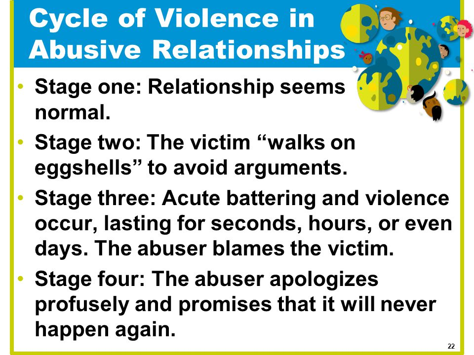 """Cycle of Violence in Abusive Relationships Stage one: Relationship seems normal. Stage two: The victim """"walks on eggshells"""" to avoid arguments. Stage"""