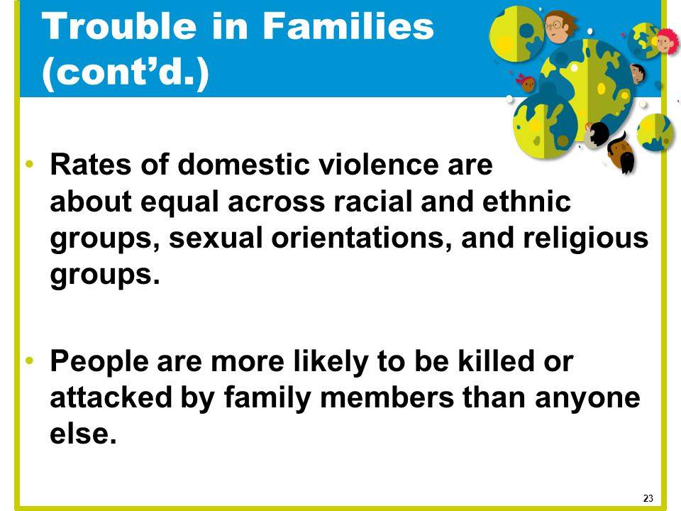 Trouble in Families (cont'd.) Rates of domestic violence are about equal across racial and ethnic groups, sexual orientations, and religious groups. P