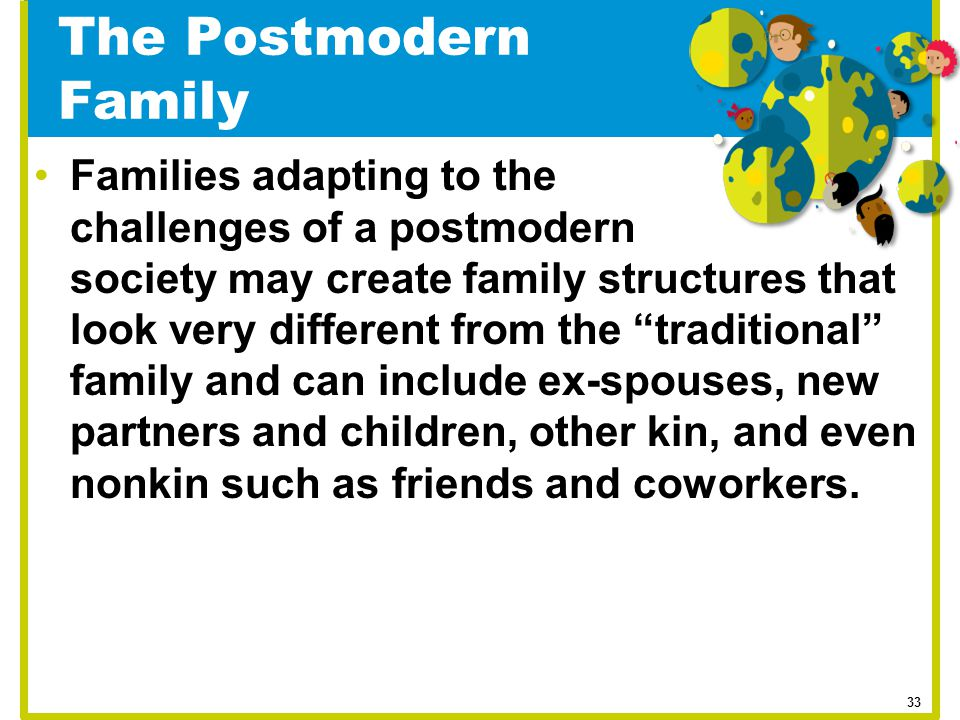 """The Postmodern Family Families adapting to the challenges of a postmodern society may create family structures that look very different from the """"trad"""