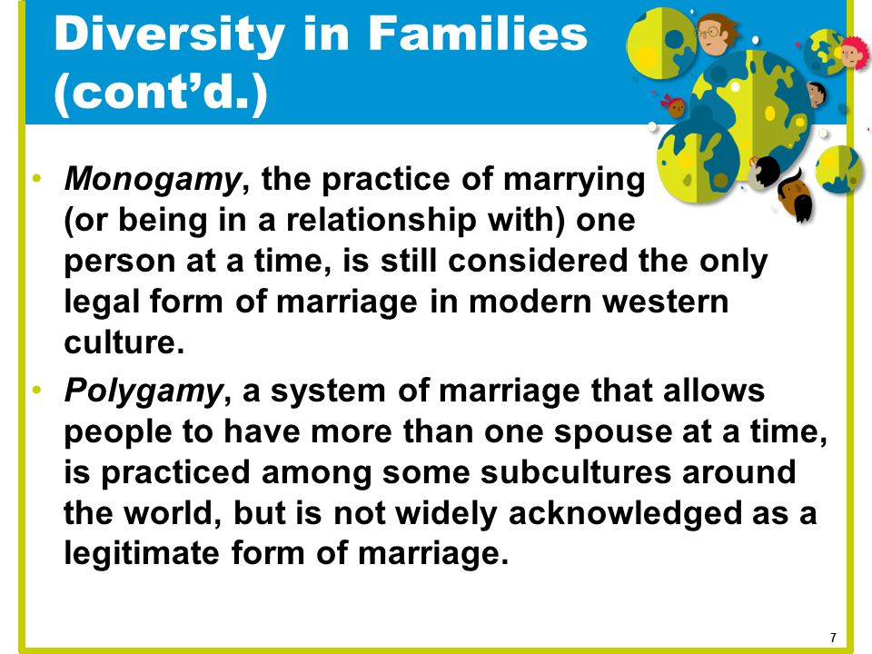 Monogamy, the practice of marrying (or being in a relationship with) one person at a time, is still considered the only legal form of marriage in mode
