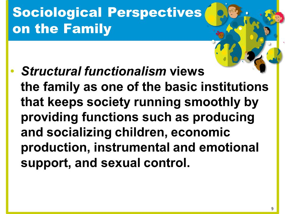Sociological Perspectives on the Family Structural functionalism views the family as one of the basic institutions that keeps society running smoothly