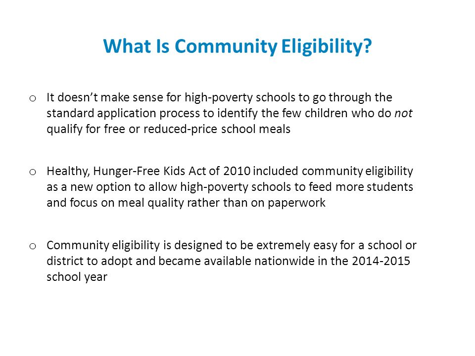 What Is Community Eligibility.