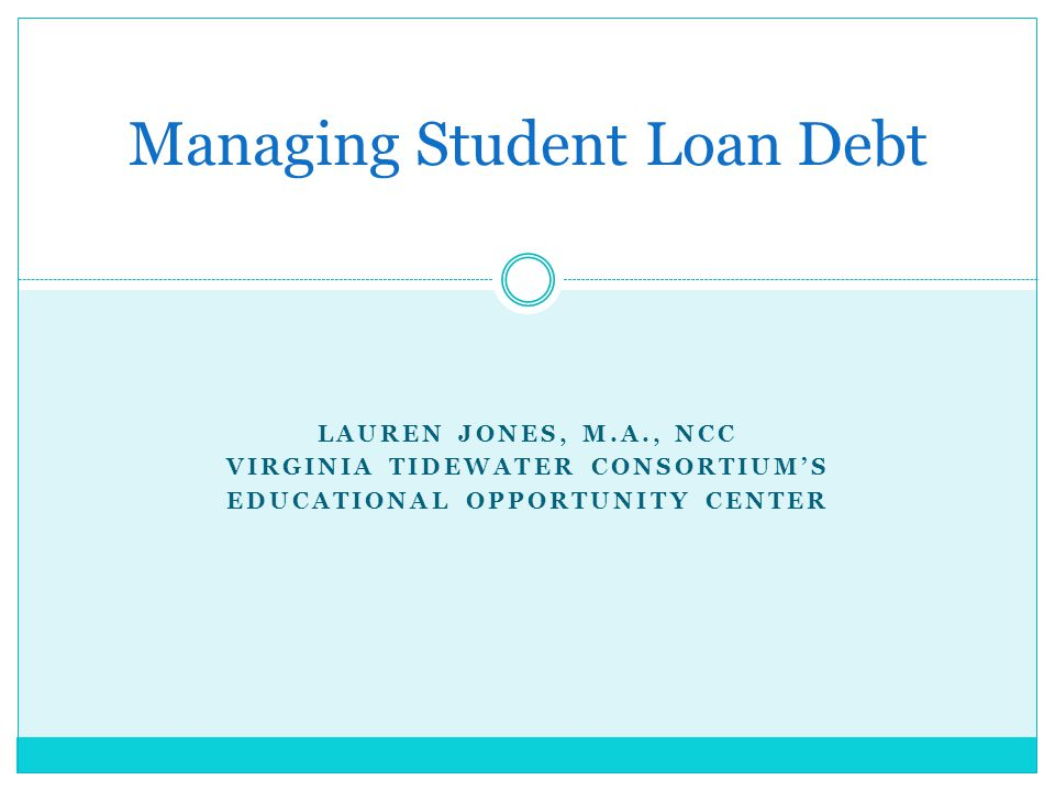 LAUREN JONES, M.A., NCC VIRGINIA TIDEWATER CONSORTIUM'S EDUCATIONAL OPPORTUNITY CENTER Managing Student Loan Debt