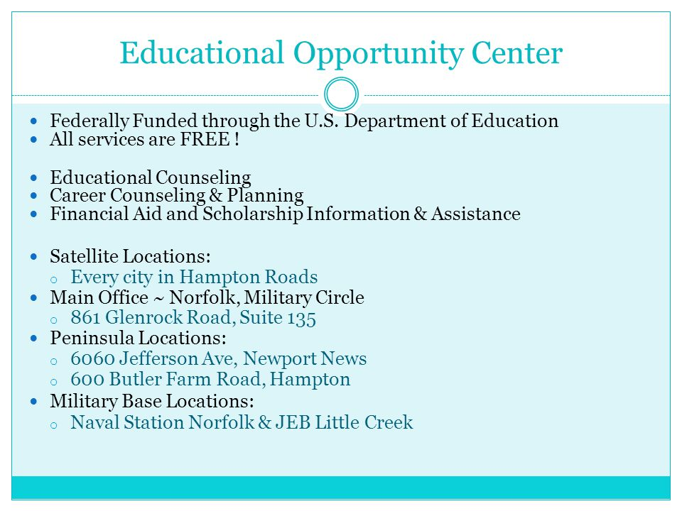 Educational Opportunity Center Federally Funded through the U.S.