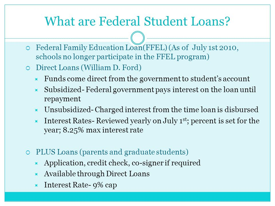 Interest Rates  Interest rates on newly originated Direct Subsidized and Unsubsidized loans for undergrad students:  5.6% (09-10), 4.5% (10-11), 3.4% (11-12, 12-13),  3.86% (13-14), 4.66% (14-15)  Interest rates on newly originated Direct Unsubsidized loans for graduate students:  6.21 % (14-15)  Interest rates on for Direct PLUS (parents and graduate) loans:  7.21% (14-15)