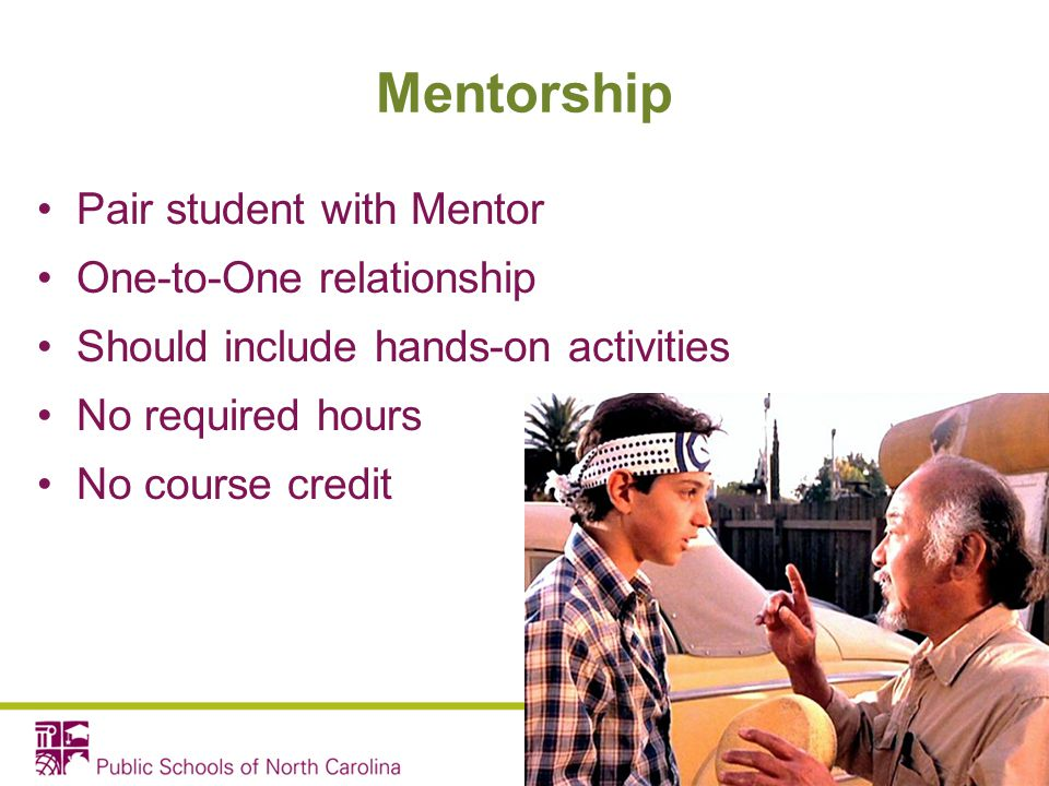 Mentorship Pair student with Mentor One-to-One relationship Should include hands-on activities No required hours No course credit