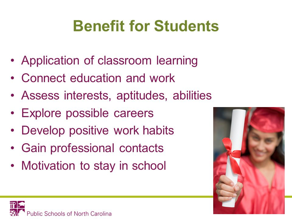 Benefit for Students Application of classroom learning Connect education and work Assess interests, aptitudes, abilities Explore possible careers Deve