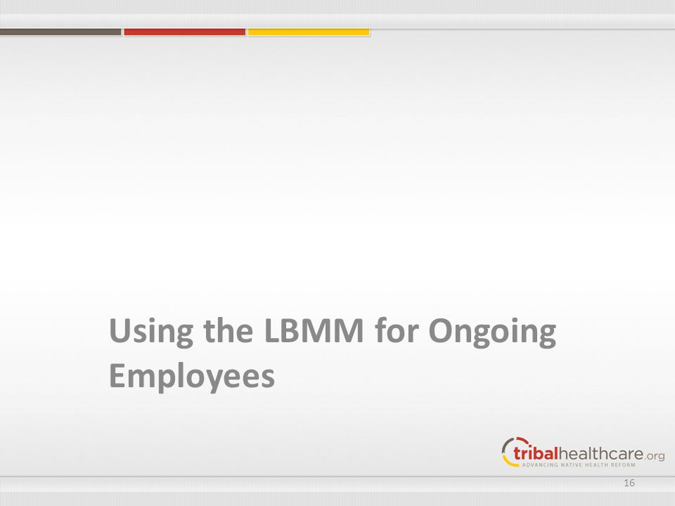 Using the LBMM for Ongoing Employees 16