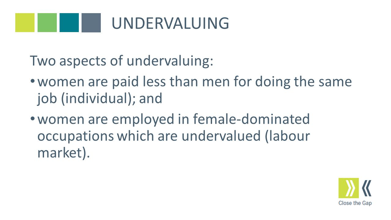 UNDERVALUING Two aspects of undervaluing: women are paid less than men for doing the same job (individual); and women are employed in female-dominated occupations which are undervalued (labour market).