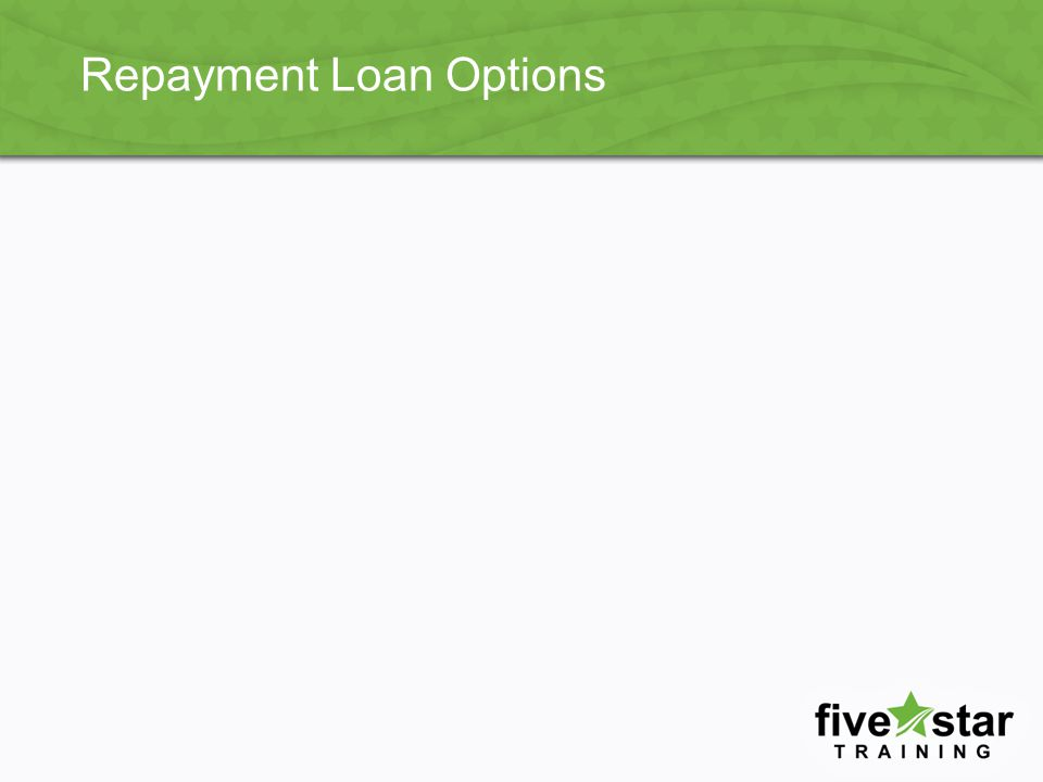 Extended Repayment Example Examples from FinAid.org calculators Will pay a fixed or graduated payment amount Repayment term not to exceed 25 years FFEL borrowers must have more than $30,000 in outstanding FFEL Program loans (for new borrowers as of 10/07/1998) Direct borrower must have more than $30,000 in outstanding Direct Loans (for new borrowers as of 10/07/1998) Will pay a fixed or graduated payment amount Repayment term not to exceed 25 years FFEL borrowers must have more than $30,000 in outstanding FFEL Program loans (for new borrowers as of 10/07/1998) Direct borrower must have more than $30,000 in outstanding Direct Loans (for new borrowers as of 10/07/1998)