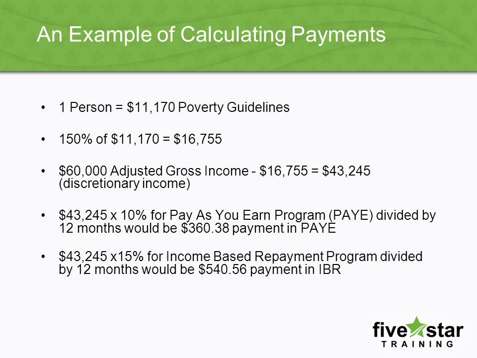 Income-Driven Plan Payment Comparison Income Family Size 123456 $15,000 IBR $0.00 ICR $64.00$0.00 Pay As You Earn $0.00 $20,000 IBR $41.00$0.00 ICR $147.00$81.00$15.00$0.00 Pay As You Earn $27.00$0.00 $25,000 IBR $103.00$29.00$0.00 ICR $184.00$165.00$99.00$33.00$0.00 Pay As You Earn $69.00$19.00$0.00 $30,000 IBR $166.00$91.00$17.00$0.00 ICR $204.00$193.00$182.00$116.00$50.00$0.00 Pay As You Earn $110.00$61.00$11.00$0.00 $35,000 IBR $228.00$154.00$80.00$10.00$0.00 ICR $221.00$212.00 $199.00$133.00$67.00 Pay As You Earn $152.00$103.00$53.00$0.00 $40,000 IBR $291.00$216.00$142.00$68.00$0.00 ICR $235.00$232.00 $217.00$151.00 Pay As You Earn $194.00$144.00$95.00$45.00$0.00 $45,000 IBR No-PFH$279.00$205.00$130.00$56.00$0.00 ICR $249.00$248.00 $234.00 Pay As You Earn $235.00$186.00$136.00$87.00$37.00$0.00 $50,000 IBR No-PFH $267.00$193.00$119.00$44.00 ICR $264.00 Pay As You Earn $277.00$228.00$178.00$129.00$79.00$30.00 This chart is based on the charts shown on pages 66117 and 66118 of the Federal Register issued on November 1, 2012 which published the final regulations.