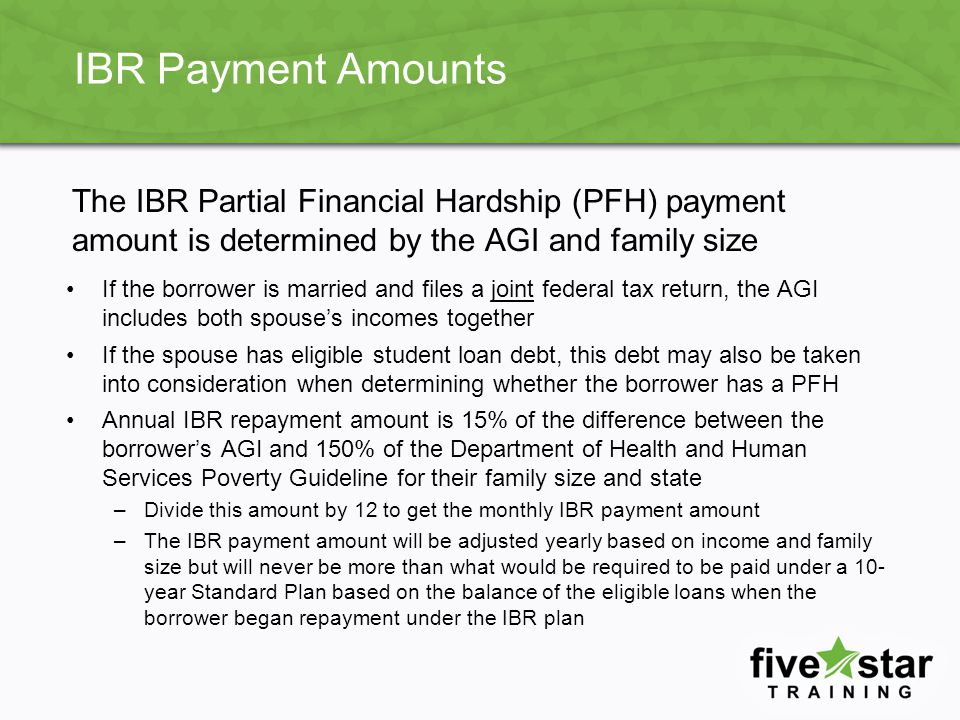 Leaving IBR If borrowers leave IBR and have unpaid interest, it will capitalize to principal, increasing principle balance The borrower is placed into the Standard Plan based on the term remaining for their loan type –For example, Stafford/PLUS Loans will have 10 years minus the time in repayment.