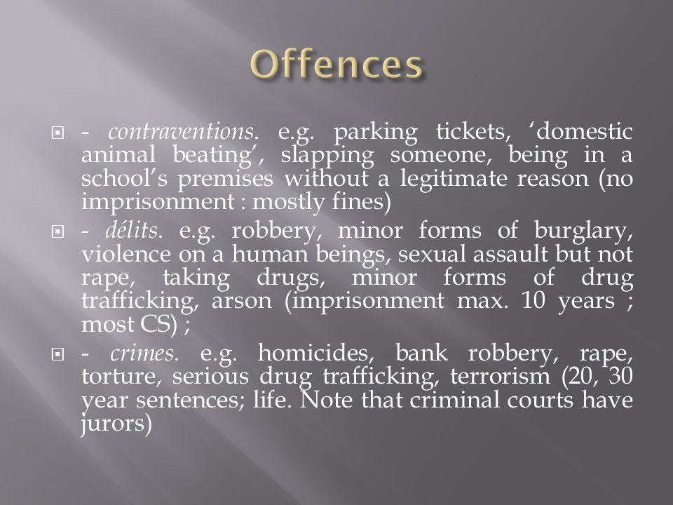  FRONT DOOR alternative sentences :  1) Fines  2) ' Peines restrictives et privatives de droits – i.e.