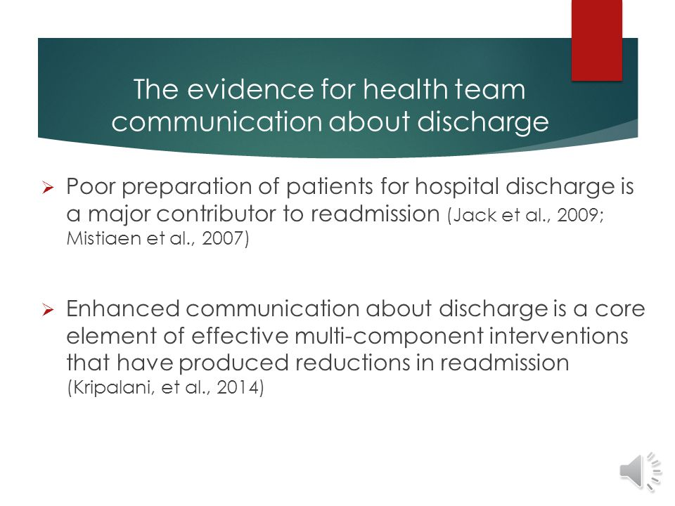 The evidence for health team communication about discharge  Patients and family caregivers:  Consistently report they do not get enough preparation for discharge  1/5 of patients report receiving conflicting information (Cleary et al., 2003 Nurses report  Frustration with lack of communication about discharge (Foust, 2007; Nosbusch, 2010)