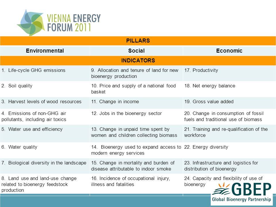 PILLARS EnvironmentalSocialEconomic INDICATORS 1. Life-cycle GHG emissions9.