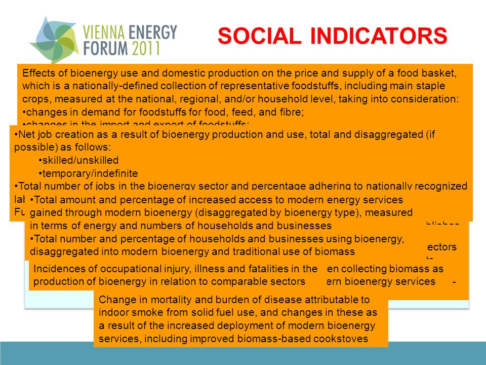 ECONOMIC INDICATORS Productivity of bioenergy feedstocks by feedstock or by farm/plantation Processing efficiencies by technology and feedstock Amount of bioenergy end product by mass, volume or energy content per hectare per year Production cost per unit of bioenergy Energy ratio of the bioenergy value chain with comparison with other energy sources, including energy ratios of feedstock production, processing of feedstock into bioenergy, bioenergy use; and/or lifecycle analysis Gross value added per unit of bioenergy produced and as a percentage of gross domestic product Substitution of fossil fuels with domestic bioenergy measured by energy content and in annual savings of convertible currency from reduced purchases of fossil fuels Substitution of traditional use of biomass with modern domestic bioenergy measured by energy content Percentage of trained workers in the bioenergy sector out of total bioenergy workforce, and percentage of re- qualified workers out of the total number of jobs lost in the bioenergy sector Change in diversity of total primary energy supply due to bioenergy Number and capacity of routes for critical distribution systems, along with an assessment of the proportion of the bioenergy associated with each Ratio of capacity for using bioenergy compared with actual use for each significant utilization route Ratio of flexible capacity which can use either bioenergy or other fuel sources to total capacity