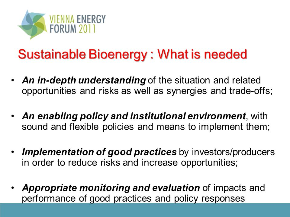 Sustainable Bioenergy : What is needed An in-depth understanding of the situation and related opportunities and risks as well as synergies and trade-offs; An enabling policy and institutional environment, with sound and flexible policies and means to implement them; Implementation of good practices by investors/producers in order to reduce risks and increase opportunities; Appropriate monitoring and evaluation of impacts and performance of good practices and policy responses