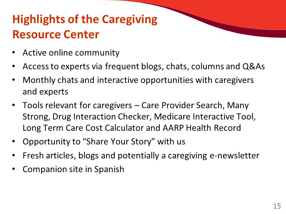Highlights of the Caregiving Resource Center Active online community Access to experts via frequent blogs, chats, columns and Q&As Monthly chats and interactive opportunities with caregivers and experts Tools relevant for caregivers – Care Provider Search, Many Strong, Drug Interaction Checker, Medicare Interactive Tool, Long Term Care Cost Calculator and AARP Health Record Opportunity to Share Your Story with us Fresh articles, blogs and potentially a caregiving e-newsletter Companion site in Spanish 15
