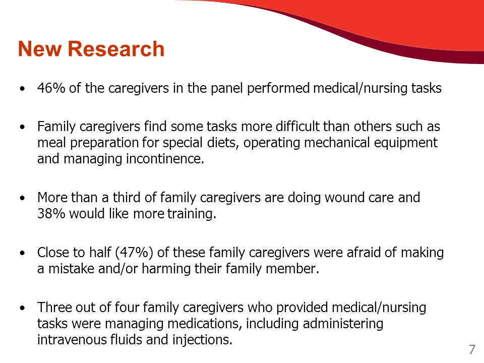 New Research 46% of the caregivers in the panel performed medical/nursing tasks Family caregivers find some tasks more difficult than others such as meal preparation for special diets, operating mechanical equipment and managing incontinence.