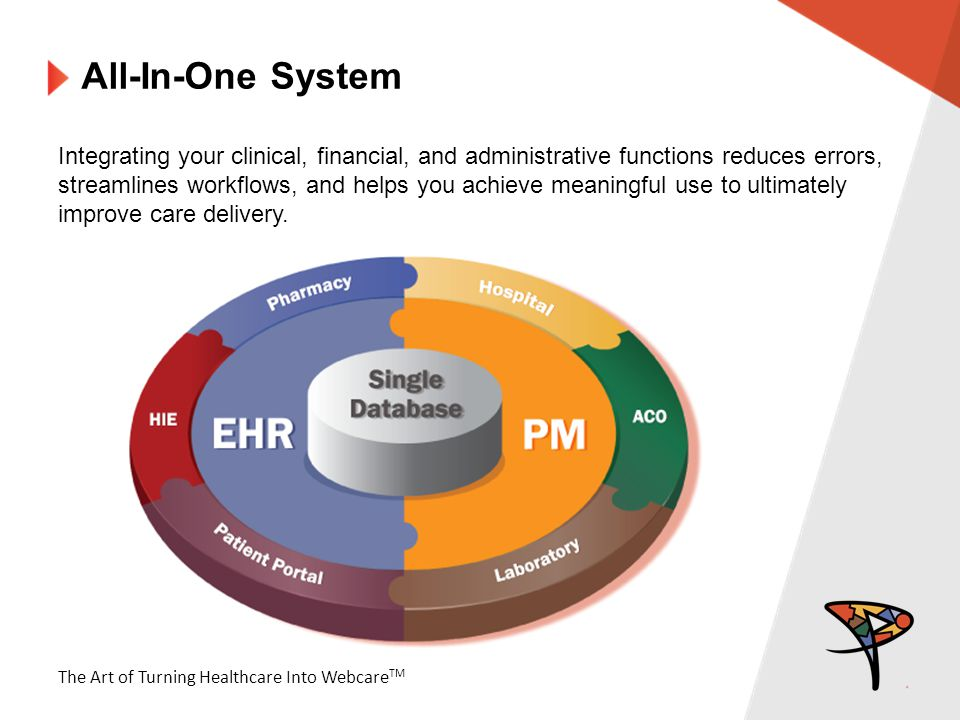 The Art of Turning Healthcare Into Webcare TM All-In-One System Integrating your clinical, financial, and administrative functions reduces errors, streamlines workflows, and helps you achieve meaningful use to ultimately improve care delivery.