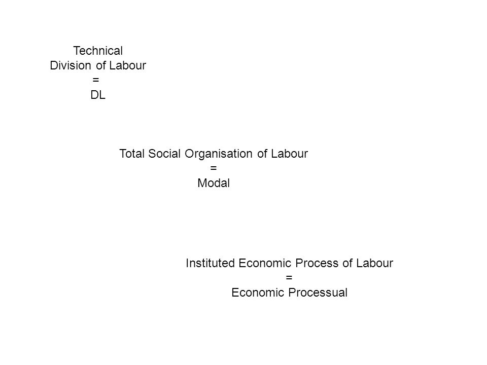 Technical Division of Labour = DL Total Social Organisation of Labour = Modal Instituted Economic Process of Labour = Economic Processual
