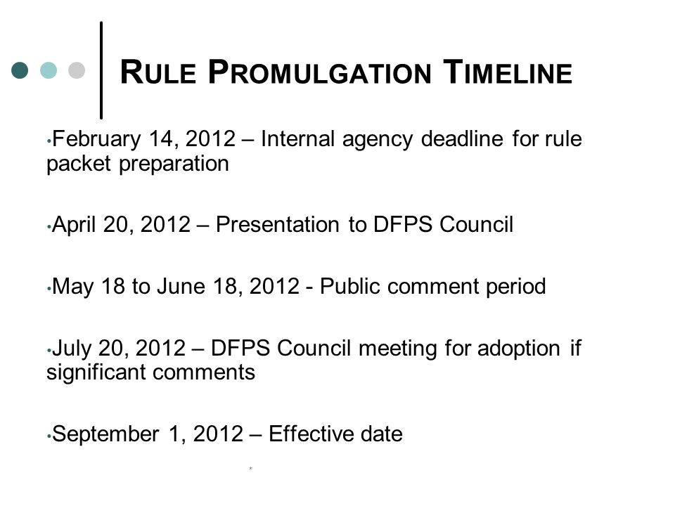 * R ULE P ROMULGATION T IMELINE February 14, 2012 – Internal agency deadline for rule packet preparation April 20, 2012 – Presentation to DFPS Council May 18 to June 18, 2012 - Public comment period July 20, 2012 – DFPS Council meeting for adoption if significant comments September 1, 2012 – Effective date