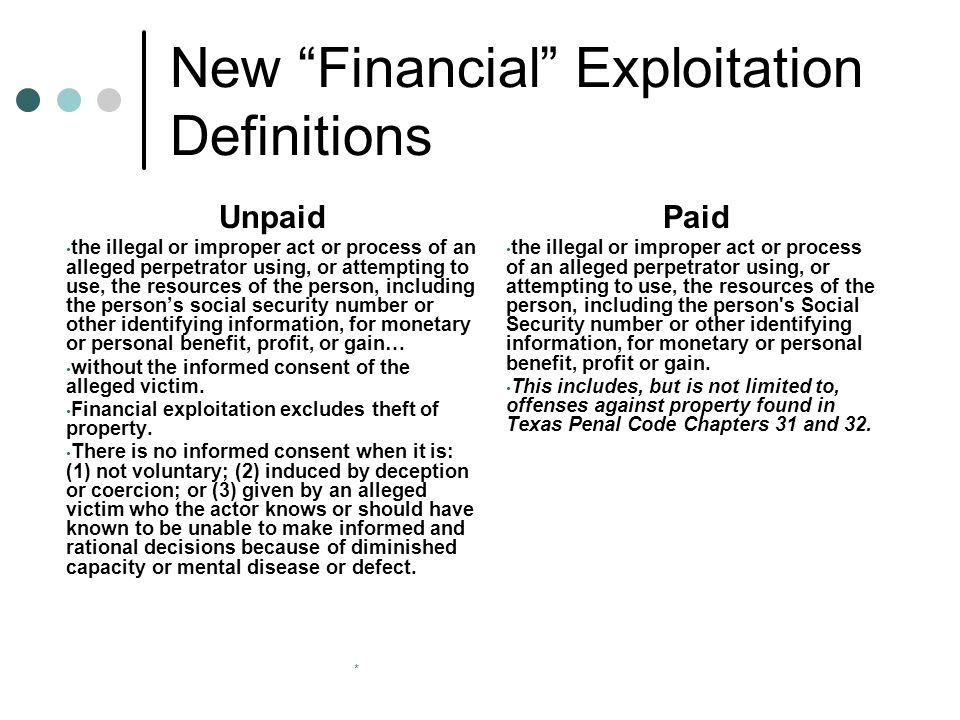 * New Financial Exploitation Definitions Unpaid the illegal or improper act or process of an alleged perpetrator using, or attempting to use, the resources of the person, including the person's social security number or other identifying information, for monetary or personal benefit, profit, or gain… without the informed consent of the alleged victim.