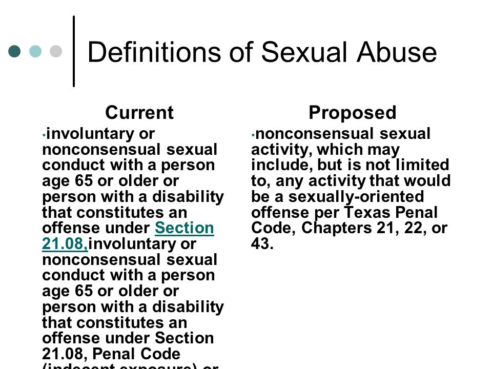 * Definitions of Sexual Abuse Current involuntary or nonconsensual sexual conduct with a person age 65 or older or person with a disability that const