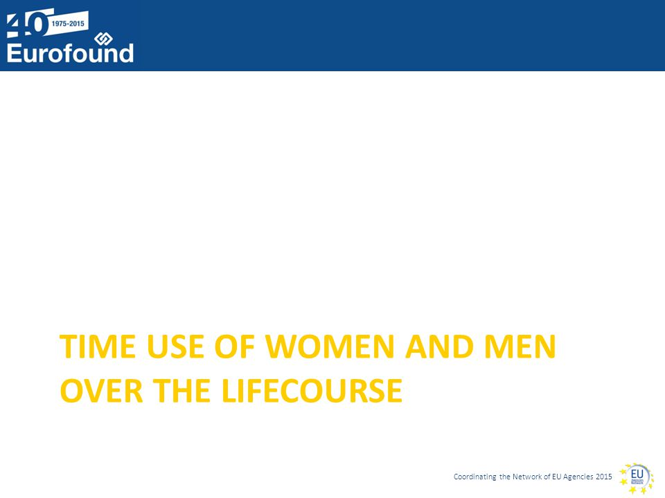 Coordinating the Network of EU Agencies 2015 TIME USE OF WOMEN AND MEN OVER THE LIFECOURSE