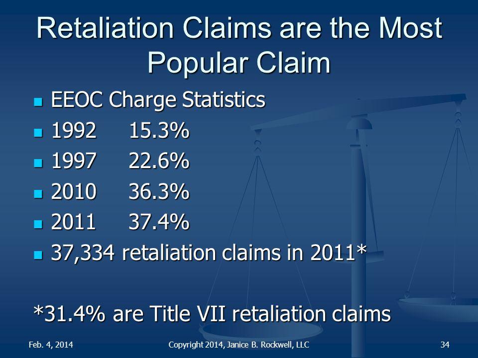 Retaliation Claims are the Most Popular Claim EEOC Charge Statistics EEOC Charge Statistics 199215.3% 199215.3% 199722.6% 199722.6% 201036.3% 201036.3% 201137.4% 201137.4% 37,334 retaliation claims in 2011* 37,334 retaliation claims in 2011* *31.4% are Title VII retaliation claims 34Feb.