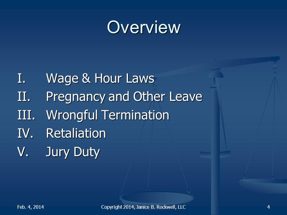 I. Wage & Hour Laws Copyright 2014, Janice B. Rockwell, LLCFeb. 4, 20145