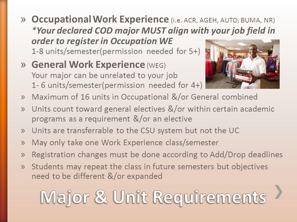 » Occupational Work Experience (i.e.