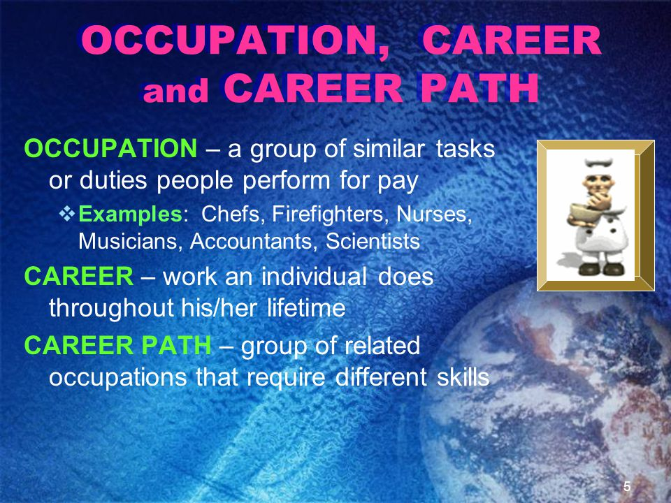 OCCUPATION, CAREER and CAREER PATH OCCUPATION – a group of similar tasks or duties people perform for pay  Examples: Chefs, Firefighters, Nurses, Musicians, Accountants, Scientists CAREER – work an individual does throughout his/her lifetime CAREER PATH – group of related occupations that require different skills 5
